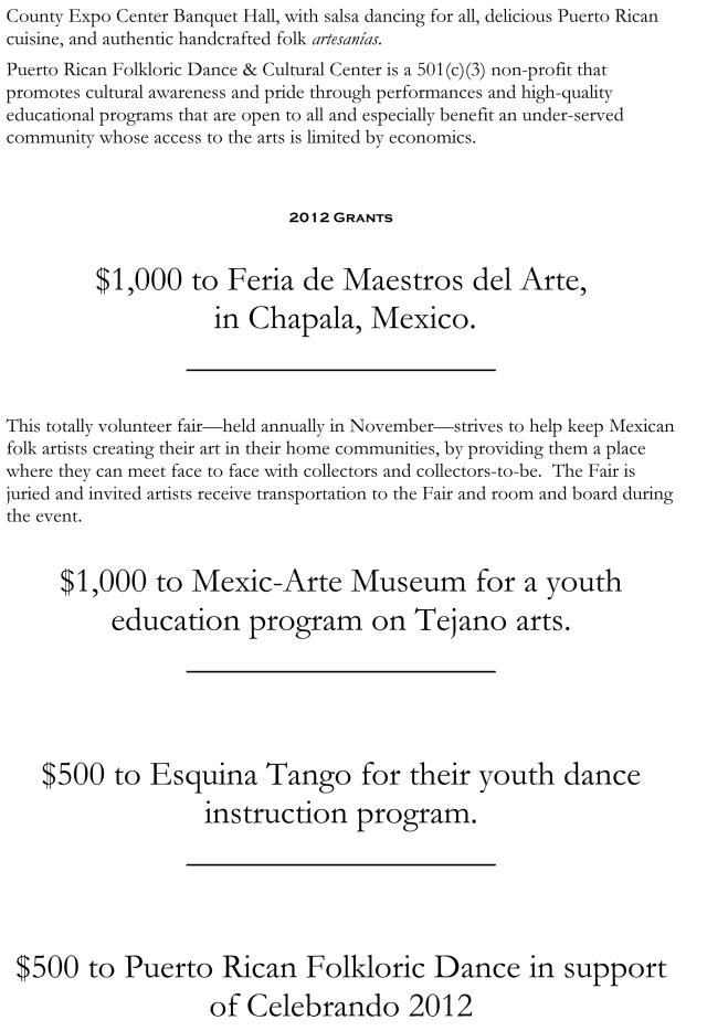 2013 & 2012 Grants for website